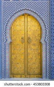 golden door of a palace in Morocco