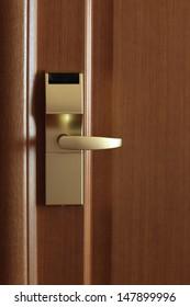 It is golden doorhandle in the hotel