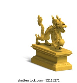a golden dragon with a ball. 3D Render with clipping path and shadow over white