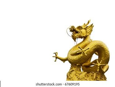 Golden dragon isolate over white background