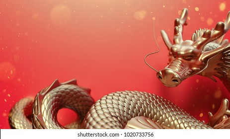Golden Dragon on red background. 3d rendering and illustration.