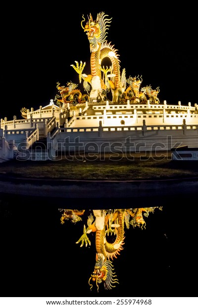 Golden Dragon and reflection on water in the dark night.