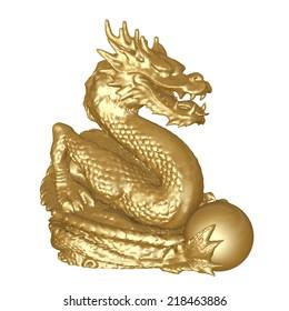 Golden dragon statue