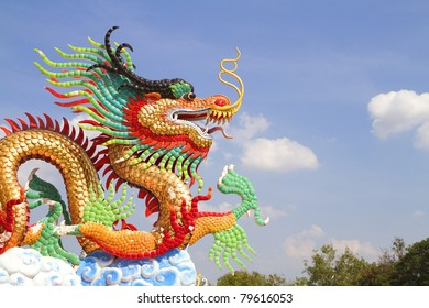 Golden dragon statue.