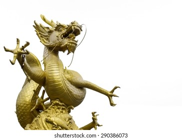 Golden Dragon Statue on White Background used as Template