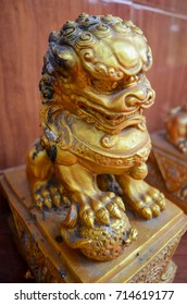 Golden dragons statue in the temple