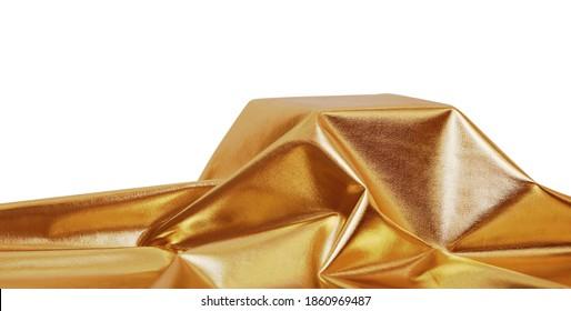 Golden draped textile cover empty podium isolated on white background