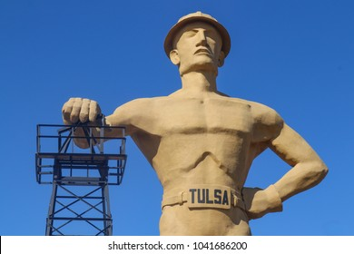 Golden Driller  75-ft tallest statue of an oil worker in Tulsa Oklahoma USA - 5th largest statue in US 3-8-2018