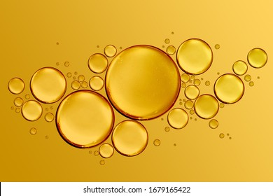 golden drops of oil or serum surface background