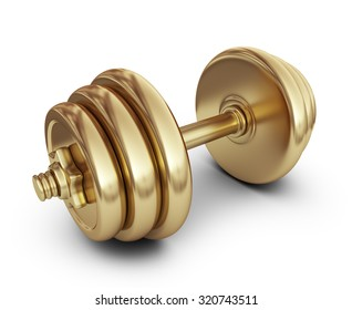 Golden dumbbell. 3D Icon isolated on white background