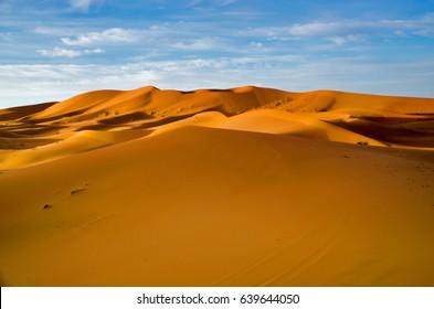The golden dunes of Erg Chebbi near Merzouga in Morocco