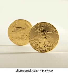 Golden eagle gold bullion. Focus on obverse