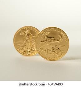 Golden eagle gold bullion. Focus on reverse side of the coin