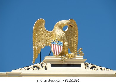 Golden eagle statue on top of government building