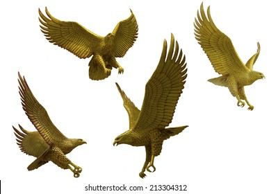 Golden eagles statue with big expanded wings Stock Photo