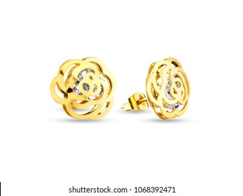 bd75d11c2 Golden earrings, small size flower shape with diamonds, jewelry on white  background