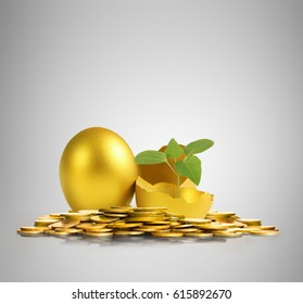 golden a easter egg isolated