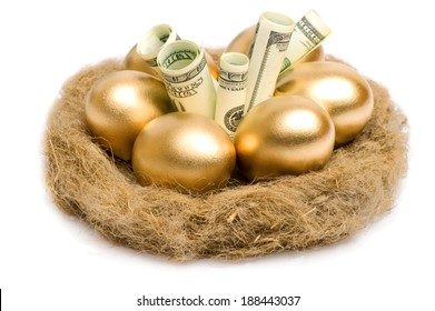 Golden eggs and dollars on a nest isolated on white background