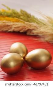 Golden eggs, easter background