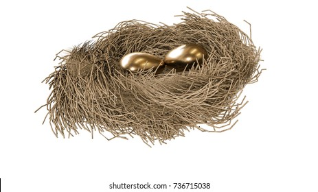 Golden eggs in the nest on a white background. 3d render.
