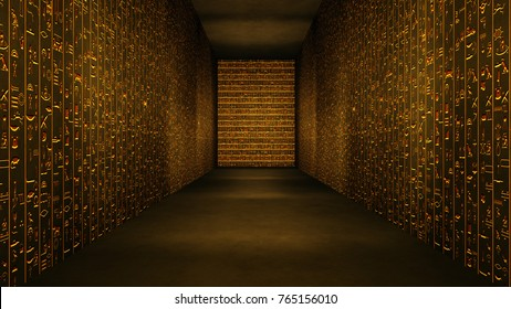 Golden Egyptian Tunnel Hieroglyphs Corridor Illustration