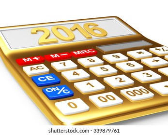 Golden electronic calculator with the numbers 2016 on the display isolated on white background