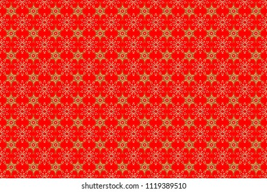 Golden element on red, white and brown colors. Antique golden repeatable wallpaper. Damask seamless pattern repeating background. Golden floral ornament in baroque style.