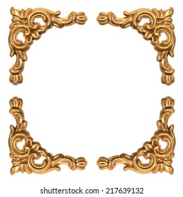 golden elements of carved baroque frame isolated on white background