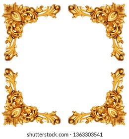 Golden elements of carved frame isolated on white, including clipping path