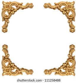 golden elements of carved frame on white background with clipping path