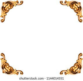 Golden elements of carved frame on white background, including clipping path