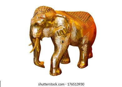 Golden elephant statues on white background