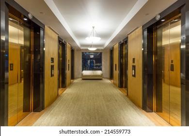 Golden elevator and corridor