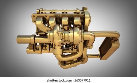 Golden engine on gray background. High resolution 3D