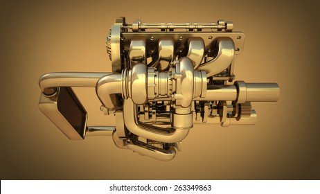 golden engine on orange background. High resolution 3D
