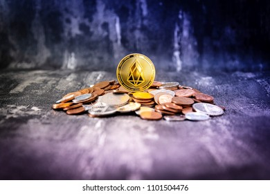 Golden EOS.IO and mound of money. Digital cryptocurrency concept