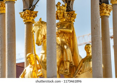 Golden Equestrian statue of Magdeburger Reiter, King and Knight, Magdeburg, Germany, closeup, details