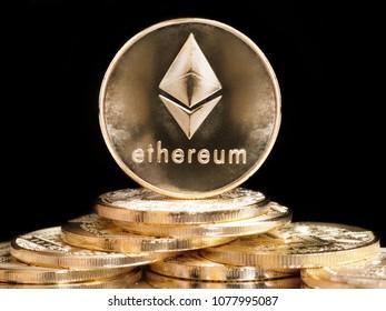 Golden Ethereum coins symbolising value of this platform