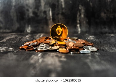 Golden Ethereum and mound of money. Digital cryptocurrency concept