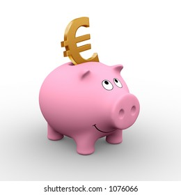 A golden Euro in a pink piggy bank (3D rendering) - A clipping path is embedded