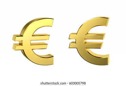 Golden Euro sign in two positions isolated on white. 3D rendering with clipping path