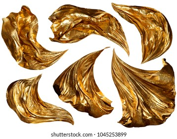 Golden Fabric Flying On Wind, Flowing Waving Gold Shine Cloth, Sparkling Clothes Drapes Piece, Isolated Over White Background