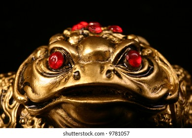 golden feng shui frog for luck and money 2