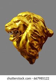 golden figurine of a Lions head, 3d-Illustration
