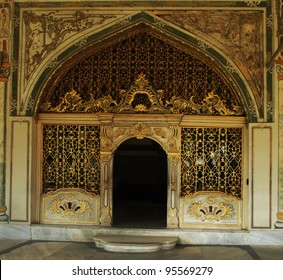 Golden filigreed door at the Topkapi Palace, Istanbul, Turkey