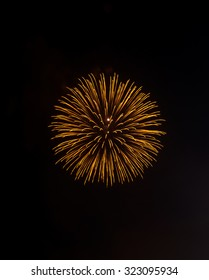 Golden firework of the New year festival at midnight.