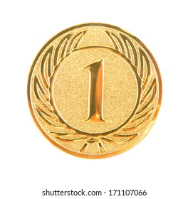golden first place medal isolated on white background