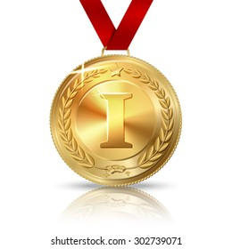 Golden first place medal with red ribbon, isolated on white with reflection.