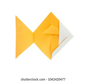 Golden fish of origami, isolated on white background.