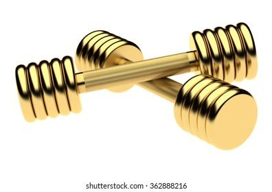 Golden fitness dumbbells. Isolated on the white  background